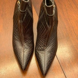 Ann Taylor Crocodile Print Leather Ankle Boots